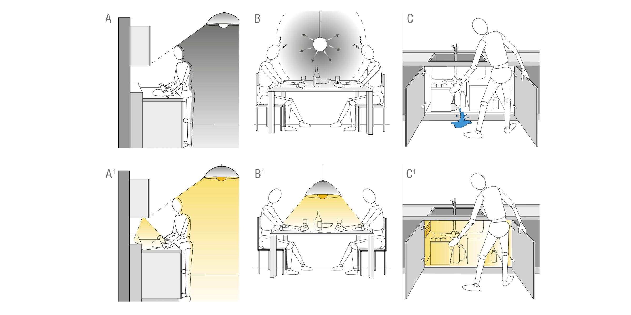 Illuminazione Piano Lavoro Cucina illuminazione artificiale cucina | progettazione | valcucine
