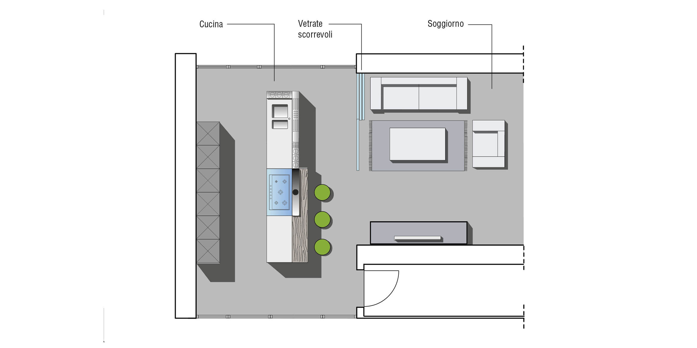 cucina con vetrate scorrevoli | progettazione | valcucine - Vetrata Soggiorno Cucina