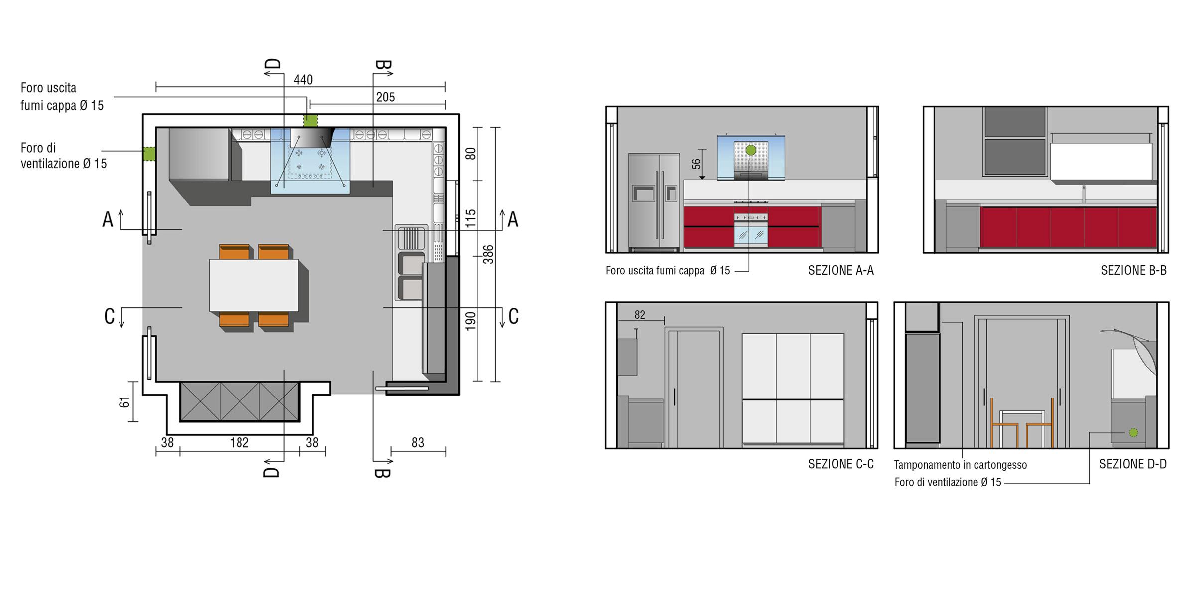 Cucine ad angolo design valcucine - Misure cucine componibili ad angolo ...